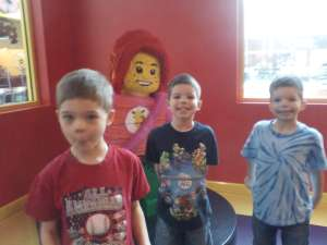 My brothers Logan, Austin, and Camden were waiting while my Dad bought our tickets to Lego Land.